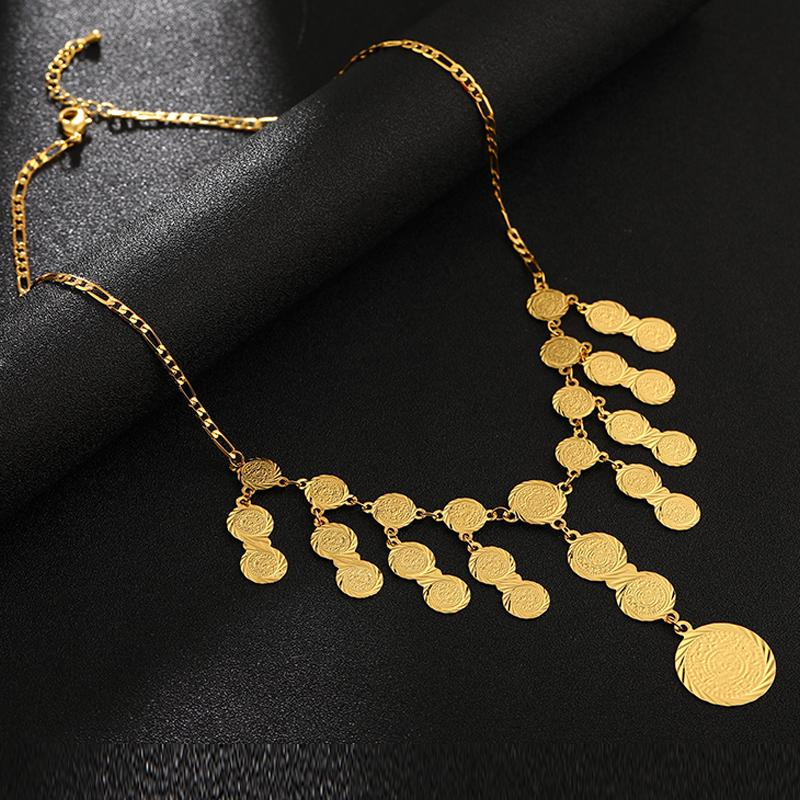 Vintage Arab Coin Gold Color Chains Necklaces for Women Middle Easter Arabian Wedding jewelry Gifts