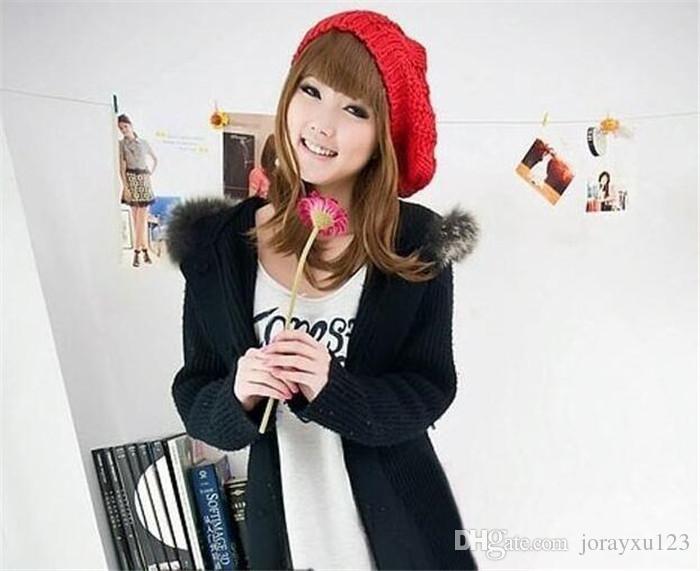 500 шт. 10 цветов Леди женщины Зима Теплая Вязаная Вязание Крючком Slouch Baggy Beret Beanie Hat Cap J160
