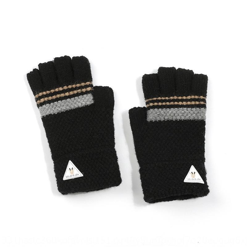 medio dedo de tejer lana cálidos guantes correa guantes calientes masculino y femenino de la muñeca de 6-12 años los estudiantes de l6skK Niños que escriben anticongelante