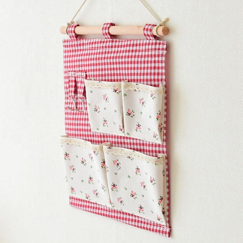 Flor cuadrícula de color rojo con gancho bolso colgante bonito colgante bonito cajas de almacenaje de Bolsa Bolsa Functionl Bins