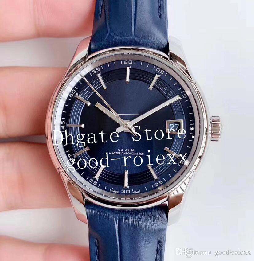 Muito Mens Hot Assista Dial Azul Automatic Relógios Men VS fábrica Co Axial Mestre Cal.8900 Movimento de couro Correia de Águia ETA Ville Relógios de pulso