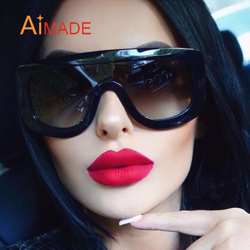 Aimade Kim Kardashian Fashion Oversized Goggle Sunglasses Vintage Big One Piece Lens Female Celebrate Sun Glasses UV400