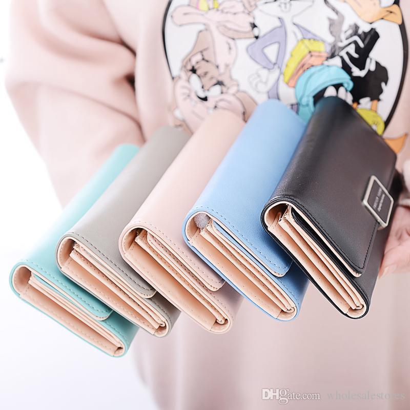Neue Frauen-Wallet Multi-Card Slot Sweet Girl Mode-Bonbon-Farbe Rosa Blau Schwarz Grau Grün Standard-lange Mappen