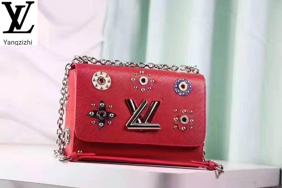 Yangzizhi New Studded Bouquet Pattern Red Leather Twist Medium Handbag M54220 Handbags Bags Top Handles Shoulder Bags Totes Evening