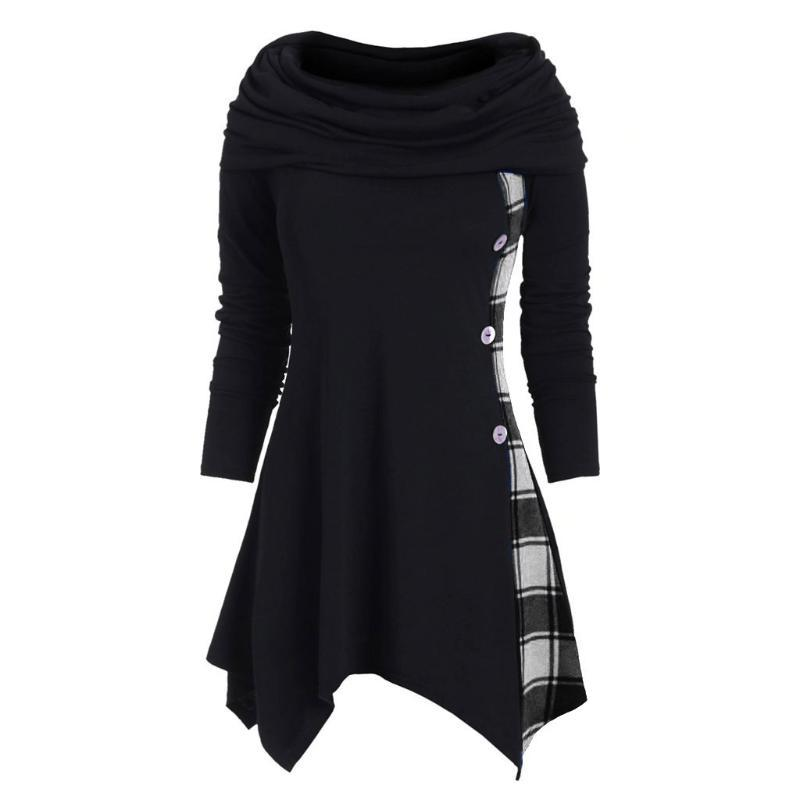 Gothique Punk Femmes col roulé à manches longues Sweats à capuche Robe Checkered Patchwork Sweatshirts Tops Femme Slim Casual overs hiver