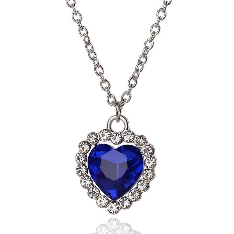 20 adet Romantik Okyanus Küçük Boy Kalp Kolye Kolye Küpe Kadınlar Mavi Kristal Rhinestone Takı Setleri K5503