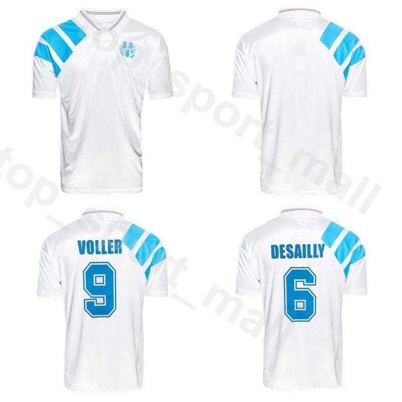 1992 1993 Marseille Retro Jersey Soccer 6 Marcel Desailly 9 Rudi Völler 4 Basile Boli 11 Didier Deschamps Männer-Fußball-Hemd-Kits