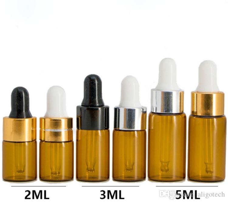 1ml 2ml 3ml 5ml Glass Dropper Bottles Amber Mini E Liquid Bottles With 8 Style Caps And Pipette Tube Dropper Glass E Liquid Bottles