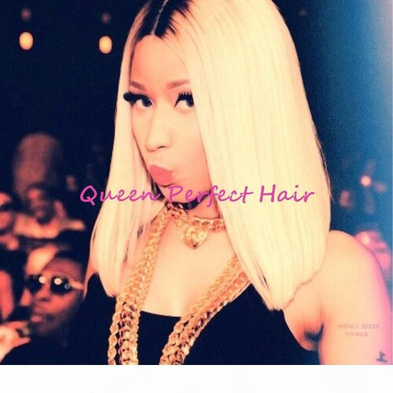 أومبير اللون قصيرة أنثى حلاقة الشعر بوب نمط لمة # 1B شقراء بوب قص الشعر المستعار اثنين من لهجة اللون الاصطناعية الدانتيل الجبهة الباروكات للنساء السود في سوق الأسهم