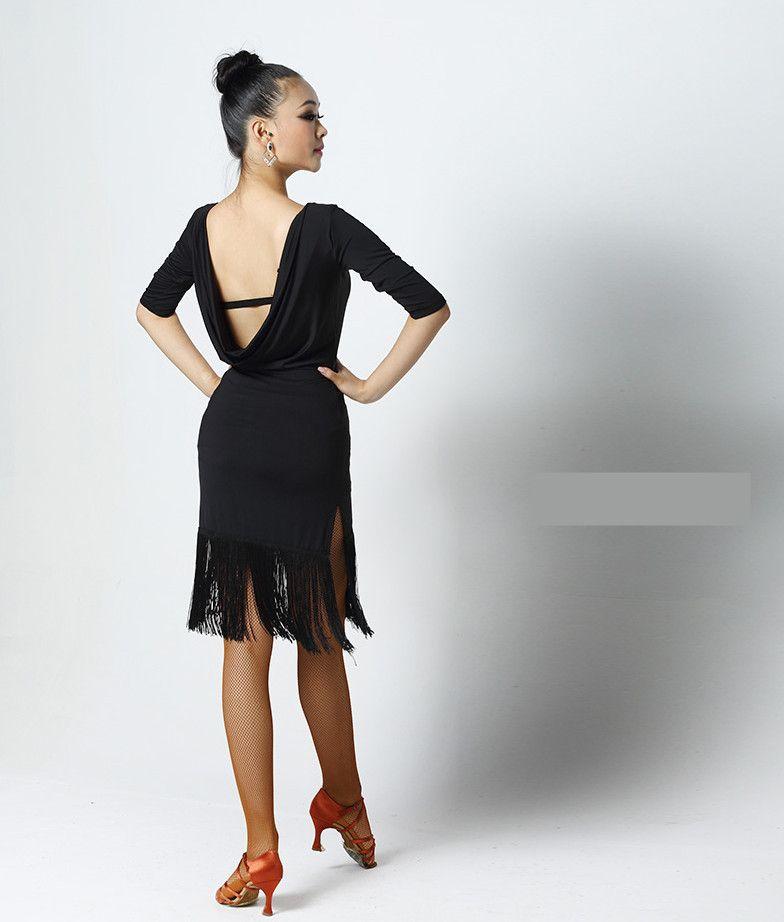 Черный Красный Adult / Девушки латинского танца платье Сальса Танго Чача Бальные конкурс Практика танец платье Sexy Backless кисточкой с длинным рукавом платье
