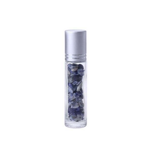 Essential verre Diffuseur d'huiles Clear rouleau sur les bouteilles de parfum avec concassée Cristal Quartz Pierre naturelle, Crystal Roller Ball Argent RRA2897