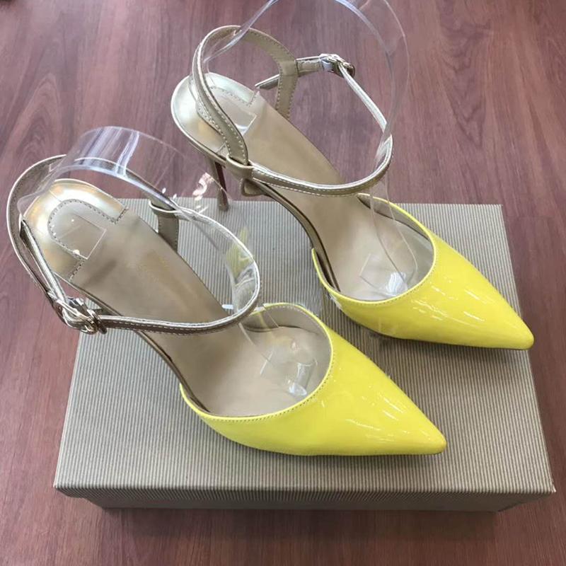 Pompe recenti inferiori rosse tacchi alti giallo Pelle donna cinturino alla caviglia di cristallo del partito scarpe toe scarpe da donna a punta