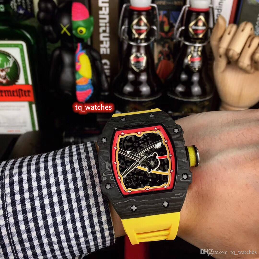 Nouveau cas de haute qualité Black Watch Carbon Fiber Montre Homme 8215 sport mécanique automatique Montre-bracelet en caoutchouc Montres Bracelet