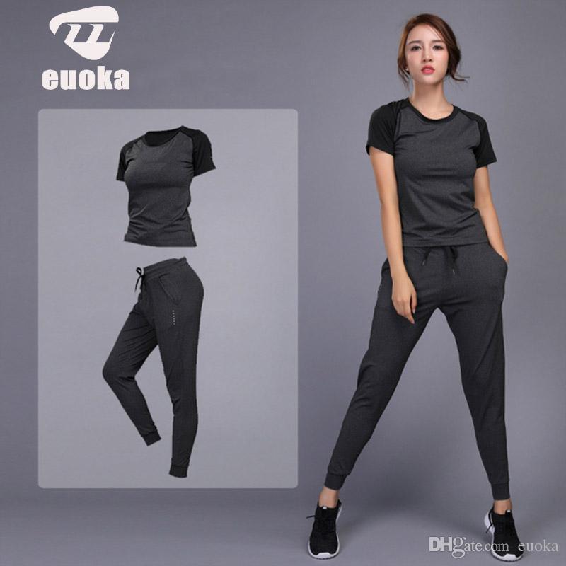 2019 женская спортивная одежда Yoga Set Jogging Одежда Тренажерный зал Тренировки Фитнес Тренировки Yoga Спортивные футболки + брюки Бег Одежда Костюм