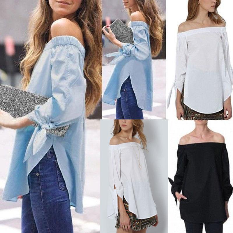 2020 señoras de la primavera llena los hombros Camisa Lrregular Side mujeres de Split Moda Camisas, blusas de verano raya atractiva Camisas