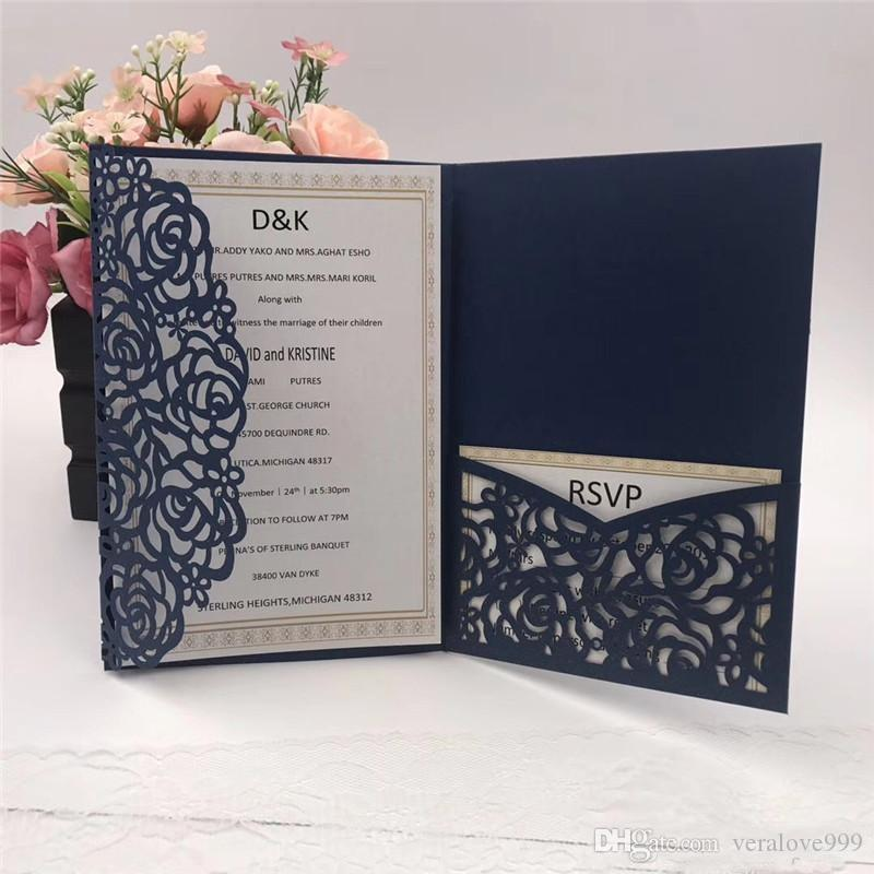 Hot Sale Navy Blue Laser Cut Wedding Invitations Cards 2018 New
