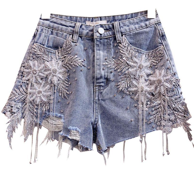 fleur dentelle perlée short denim trou pompon femme mode d'été des jeans lâche jambe large short