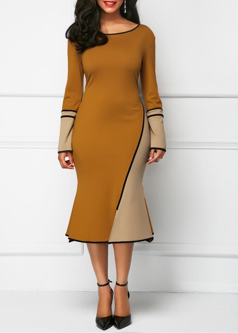 Mode pour dames Parti Robes Femmes Printemps lambrissé Crayon robes sirène sexy Flare manches Robe Pour Femme