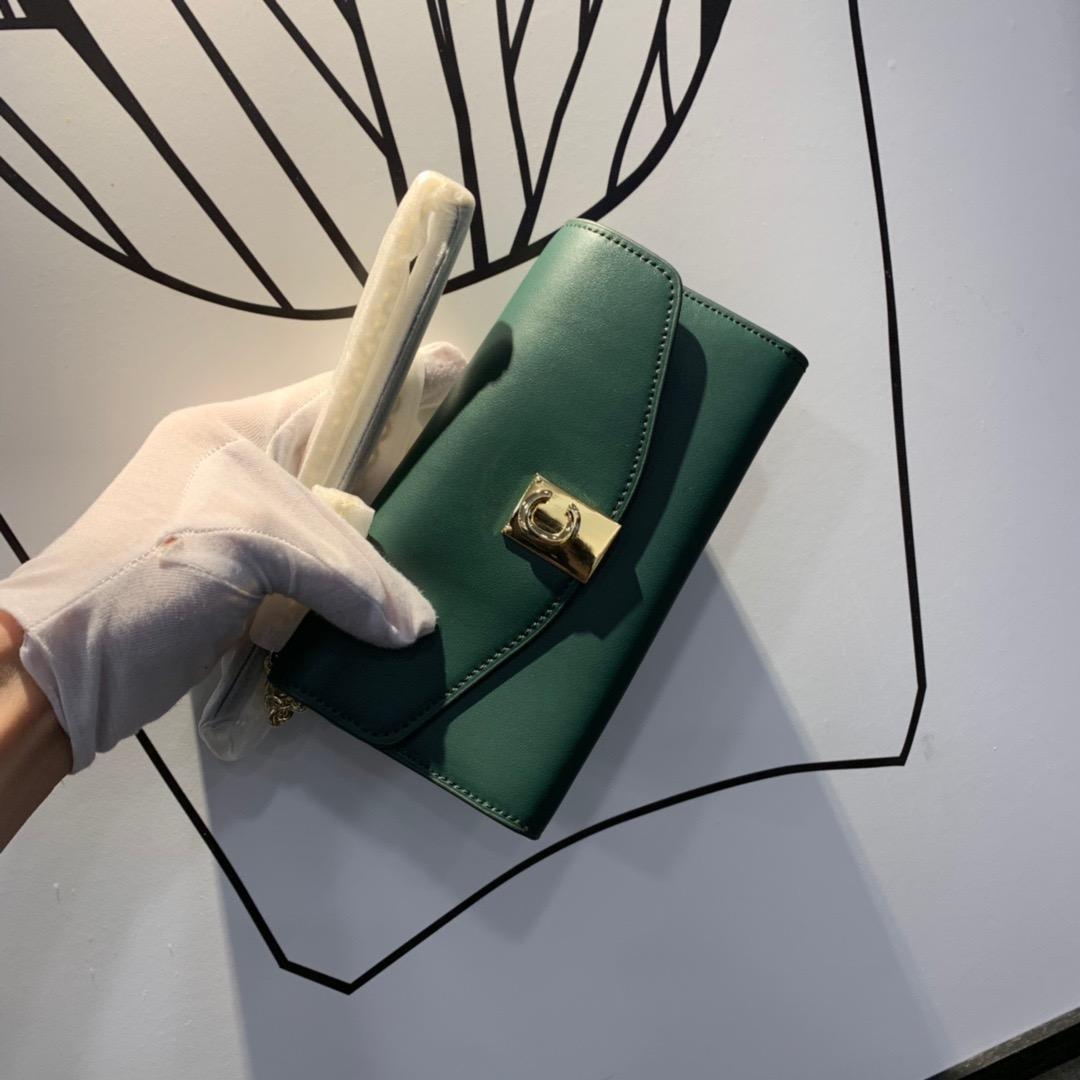 portafoglio borsetta in pelle italiana scatola squisita portafoglio stella lunga catena stessa piazza borsa hardware c-tasto importati vitello sacchetto del pranzo