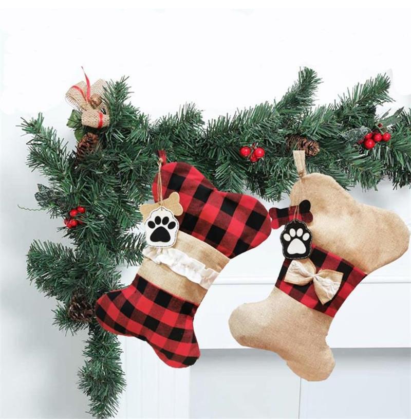 القوس الحيوانات الأليفة عيد تخزين الخيش الأحمر منقوشة جورب الأسماك شكل شجرة عيد الميلاد شنقا قلادة المنزل حزب الديكور مهرجان هدية للعائلة