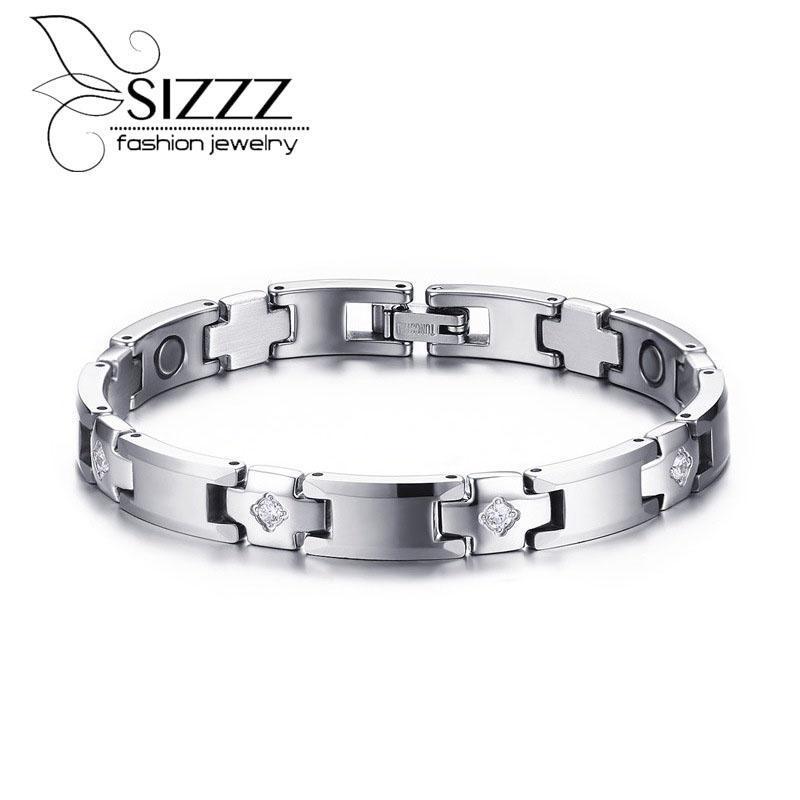 SIZZZ Moda Takı 8MM Geniş Tungsten Çelik + Yapay elmas Trend Erkek BraceletBangles