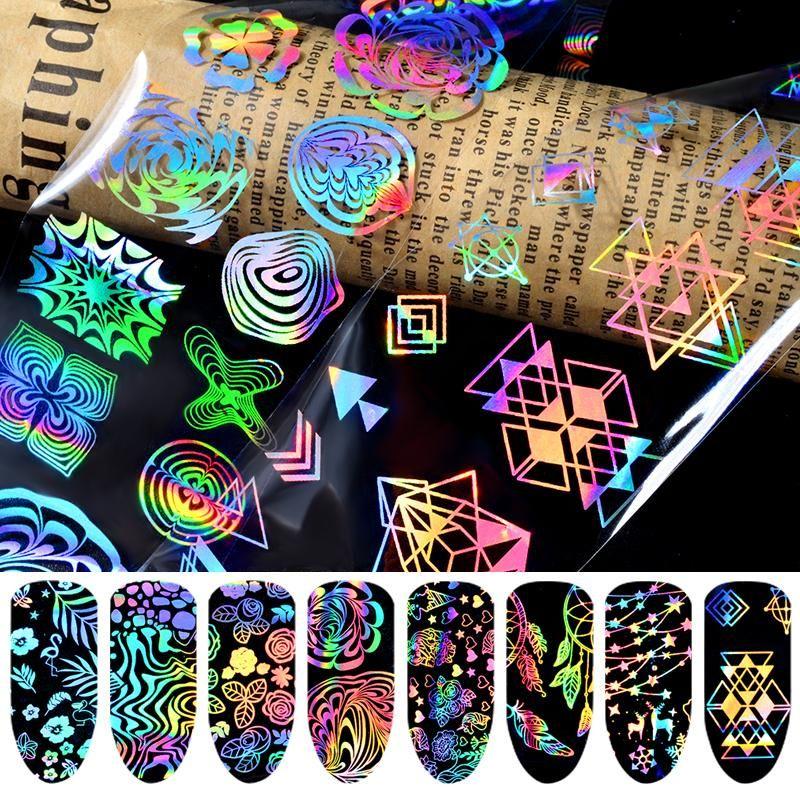 8PCS 매력적인 환상적인 레이저 네일 아트 전송 호일 스티커 기하학적 크리스마스 꽃 눈 디자인 매니큐어 액세서리
