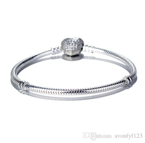 Femmes Luxury Mode 925 Sliver Plated Love Heart Cz Diamond Chain Chaîne Bracelet pour Bracelet à chaîne Snake Pandora W75