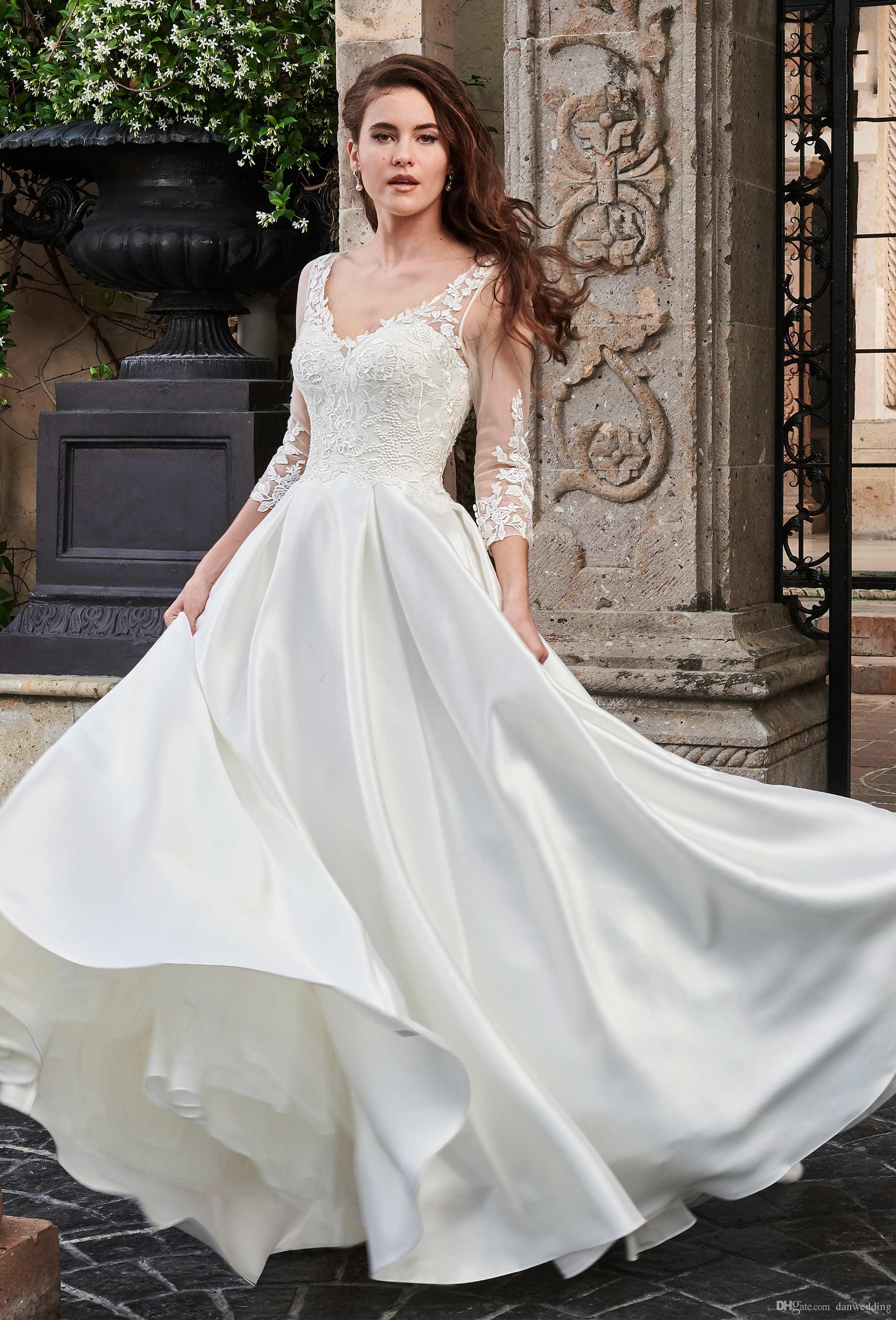 Beauty Ivory V-Neck Applique 3/4 Sleeves A-Line Wedding Dresses Bridal Pageant Dresses Wedding Attire Dresses Custom Size 2-16 KF1125162