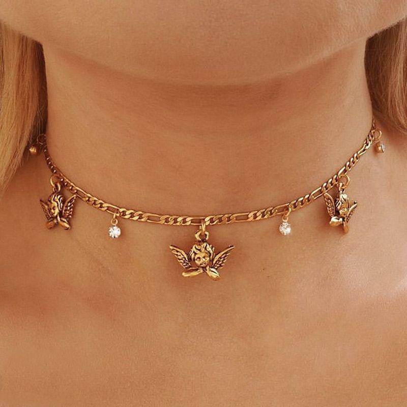 Jóias Acessórios retro das mulheres colares de cristal do anjo do bebê Pingente Cadeia De Clavícula ouro partido clássico Engagement Colar