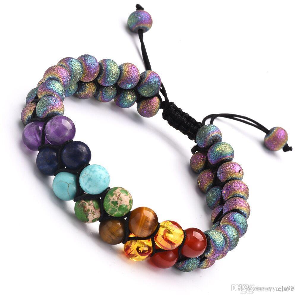 Chakra Bracelet Hommes Coloré Lave Agate Pierre Guérison Équilibre Perles Bracelet Bouddha Prière Pierre Naturelle Yoga Bracelet Pour Femmes Hommes