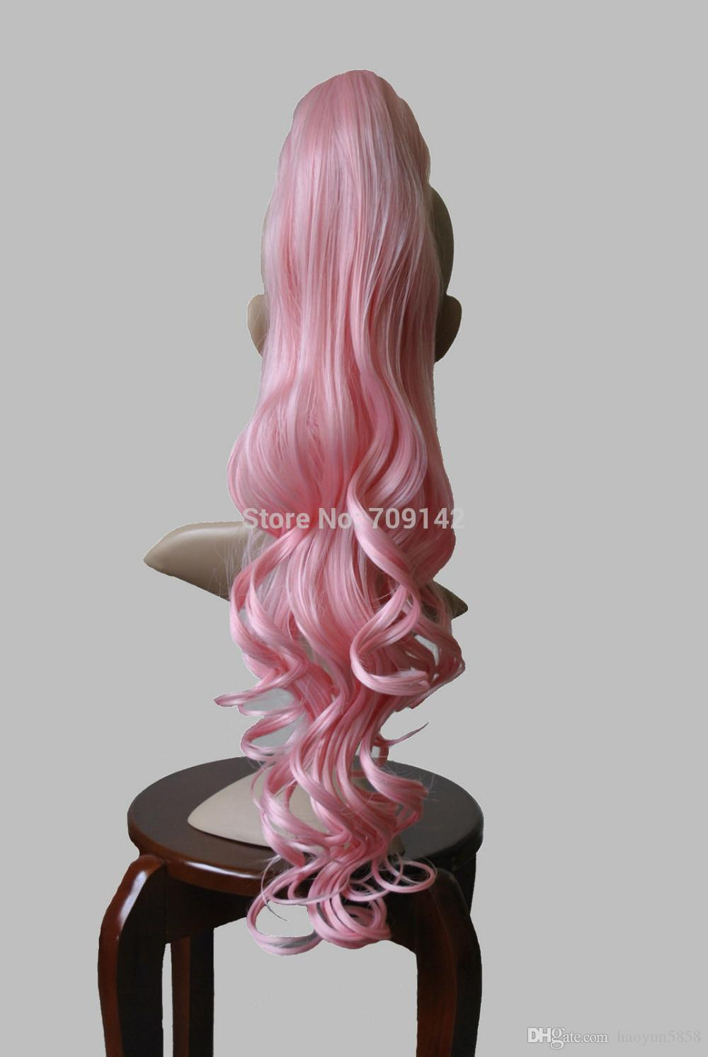 26 인치 핑크 헤어핀 물결 모양 가발 포니 테일 hImitation Uman Kanekalon hair 무료 제공