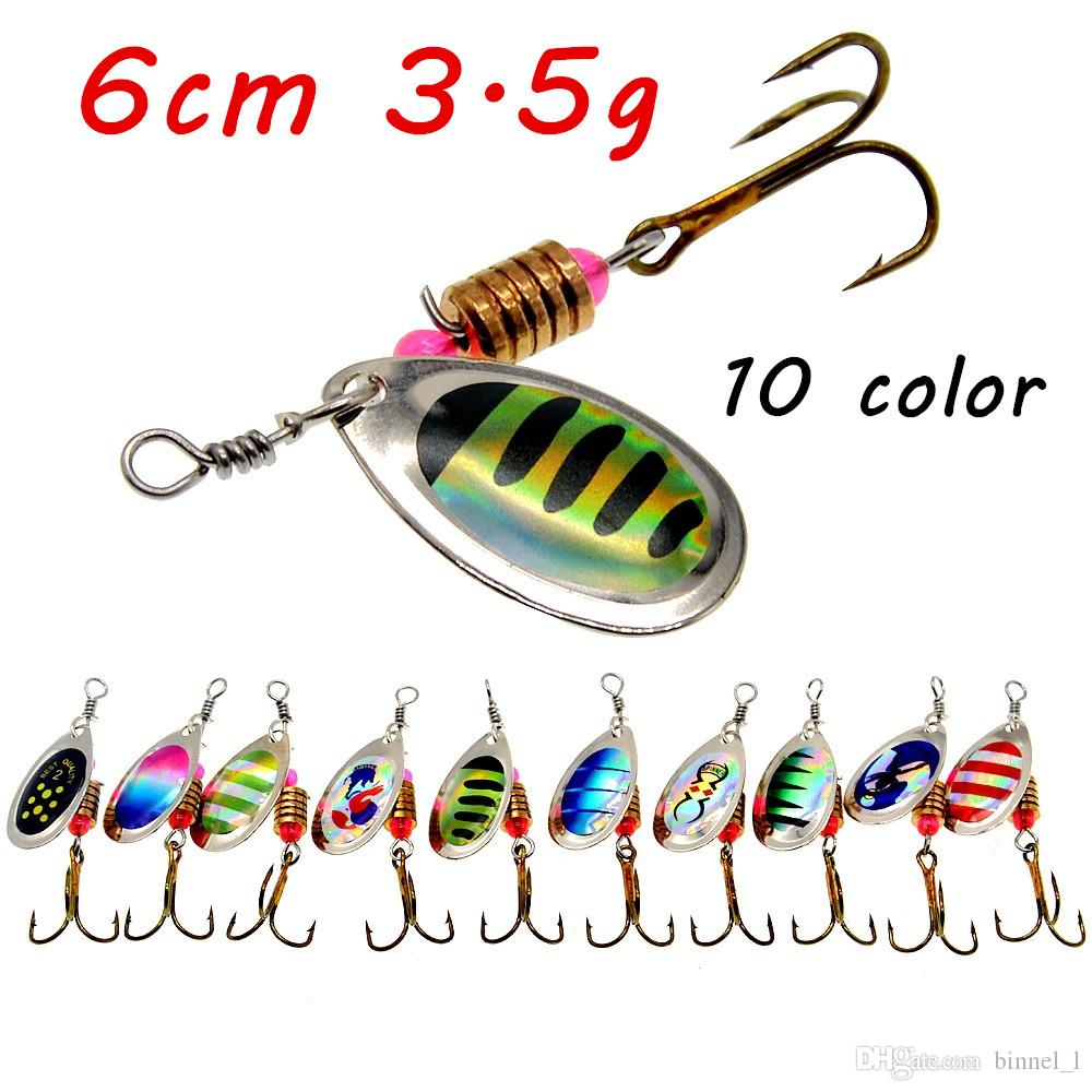 1pc Spinner Metal Bits Lures 10 Color Mixed 6cm 3.5 g 6# Fishing Hooks Pesca Fishing Tackles Supplies BL_39
