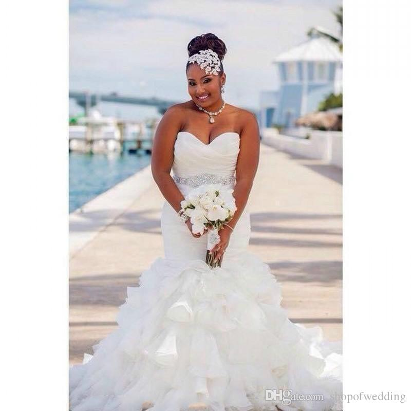 Bridal wedding dress ruffled edge organza Mermaid skirt large size wedding dress beads belt tail custom made