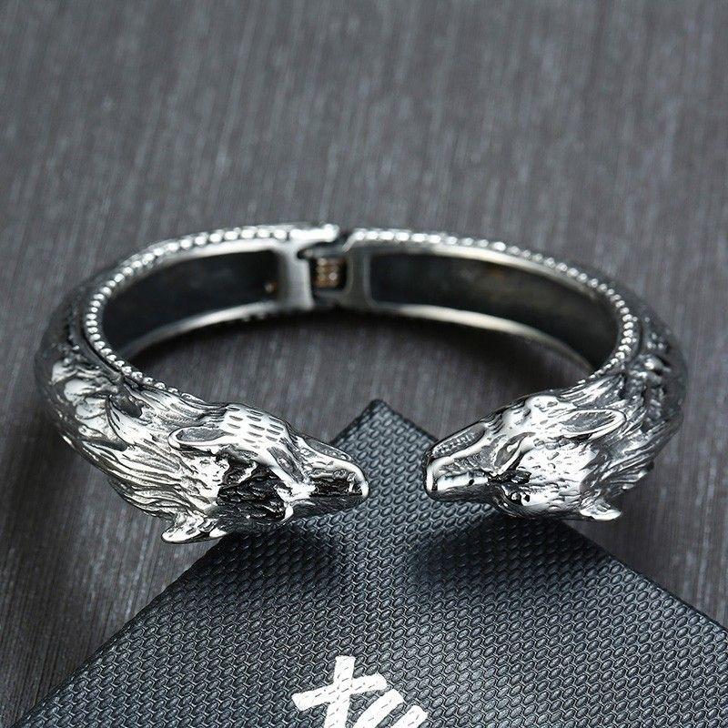 Monili punk Silver Mens dei braccialetti del polsino aperto testa del leopardo braccialetto in acciaio inox Heavy motociclista