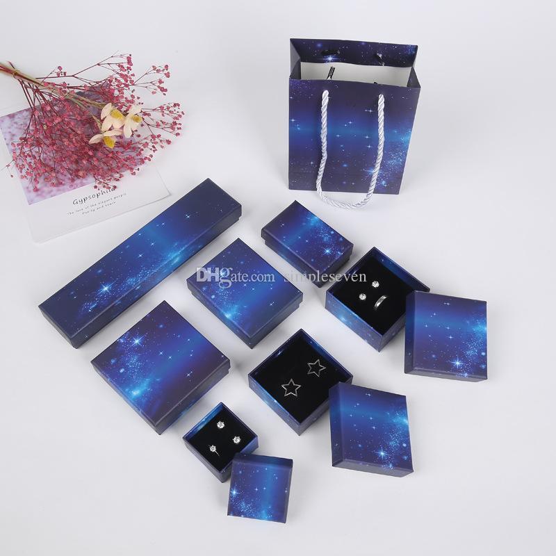 [Simple Seven] Boîte à bijoux de ciel étoilé, Coffret cadeau bague, Stockage de bijoux bleu profond pour collier, Affichage de pendentif ciel nocturne