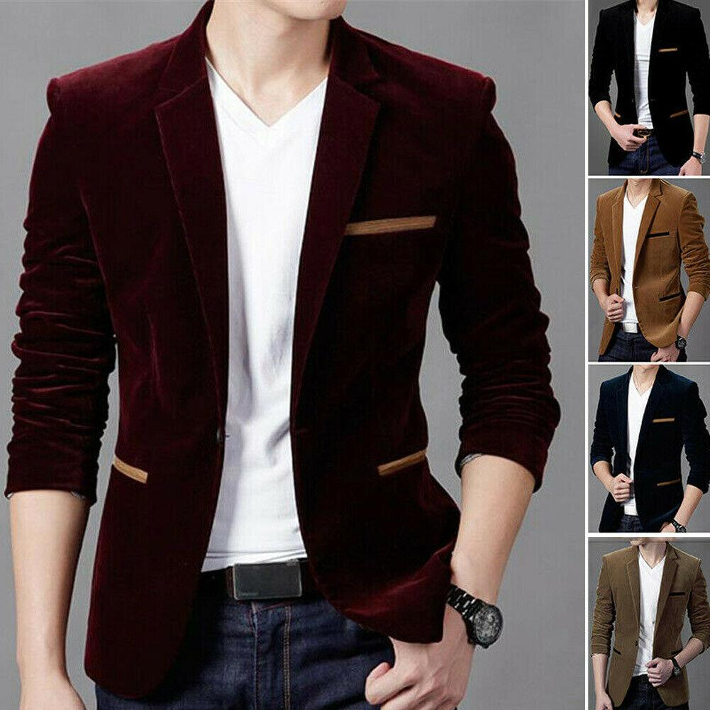 Men New Autumn Casual Daily tops Mens Casual One Button Fit Suit Blazer Coat Jacket