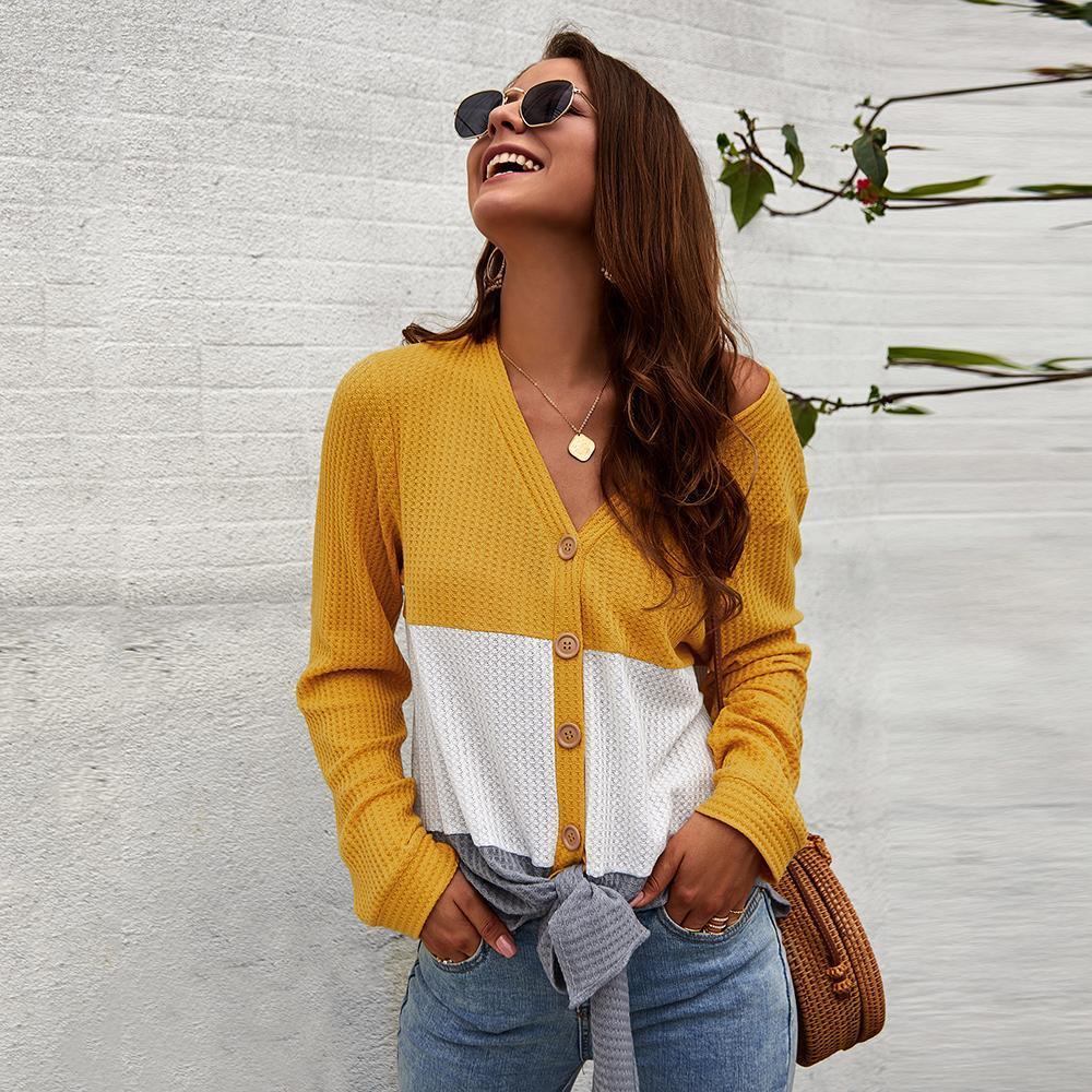 Donne Tempo libero shirt magliette casual signore Estate Autunno a maniche lunghe Moda V-Neck Camicie Button Down