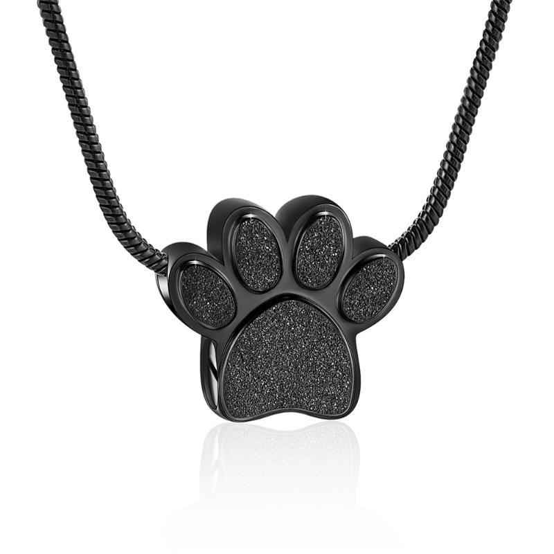 Stainless Steel Ashes Pet Dog/Cat Black Print Cremation Urn Necklace Memorial Pendant
