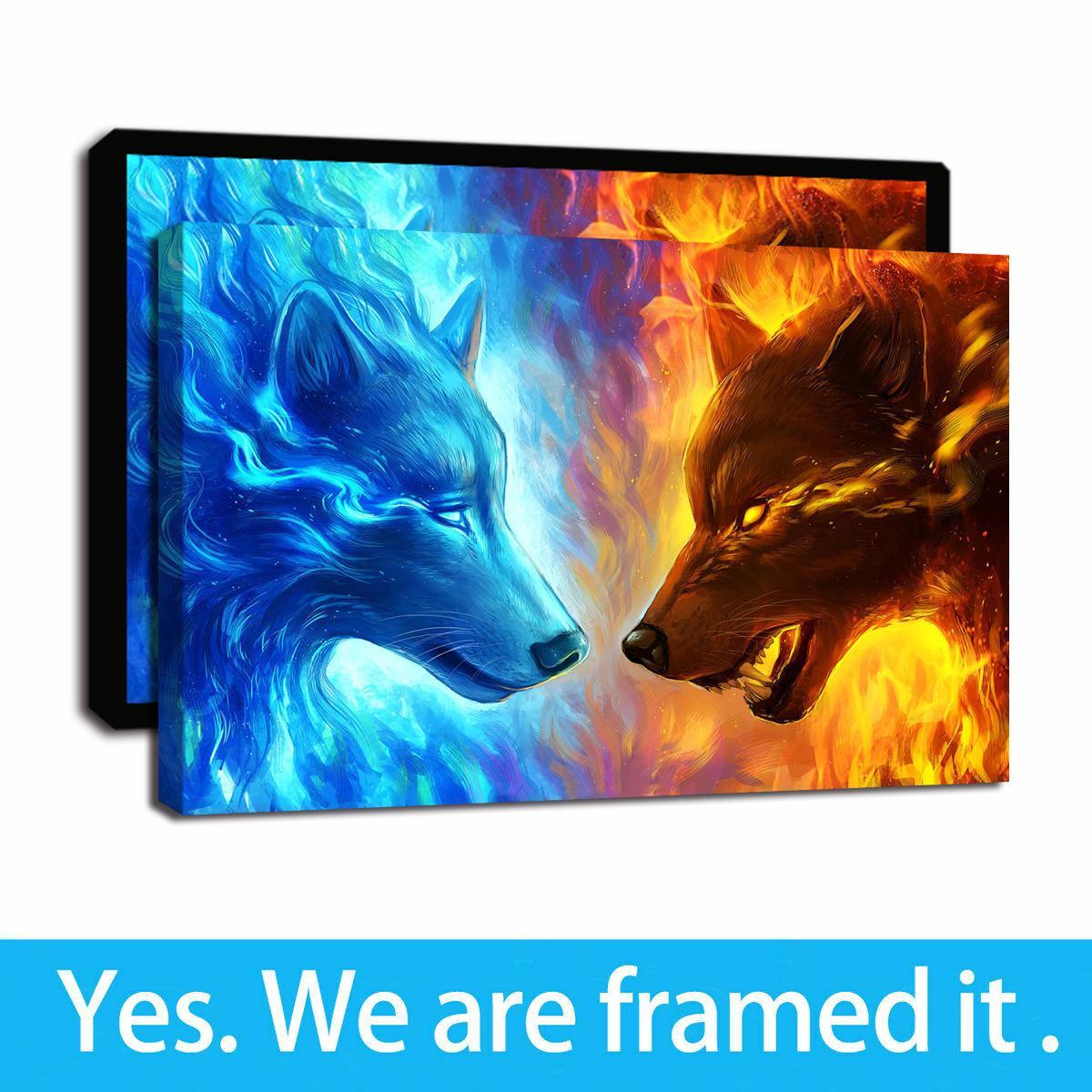 Arte de la pintura al óleo enmarcada Impresión en lienzo multicolor abstracto animal del arte del lobo fuego y hielo imagen Decoración listo para colgar