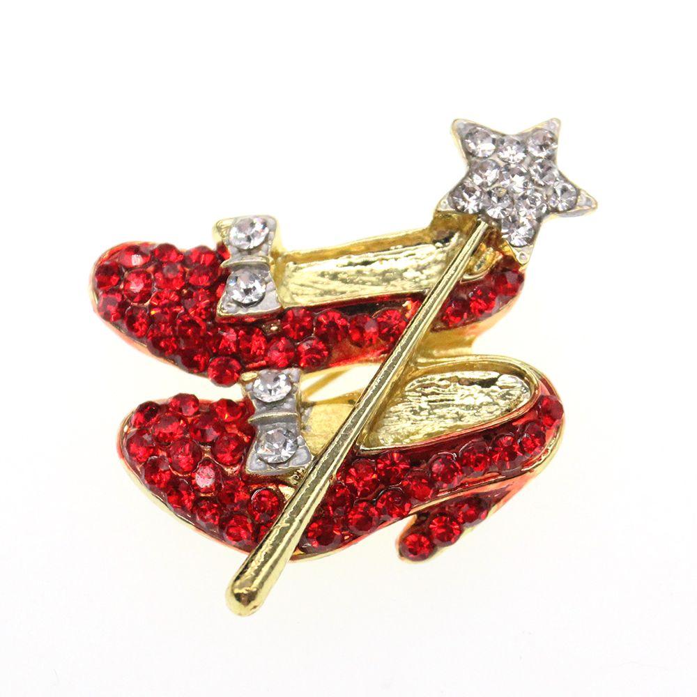 Lovely Crystal Red Heart High-Heels Brooch /& Red Velvet Pouch Christmas Gift