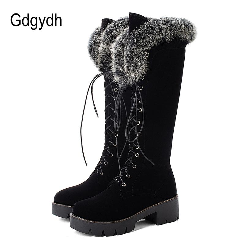 Gdgydh Lace Up Winter Shoes Women Snow