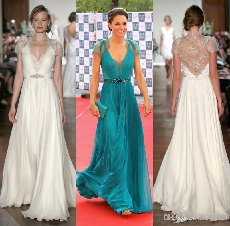 Kate Middleton in Jenny Packham Sheer Lace Chiffon Evening Dresses with cap Sleeves Evening Gowns Formal Celebrity Red Carpet Dresses