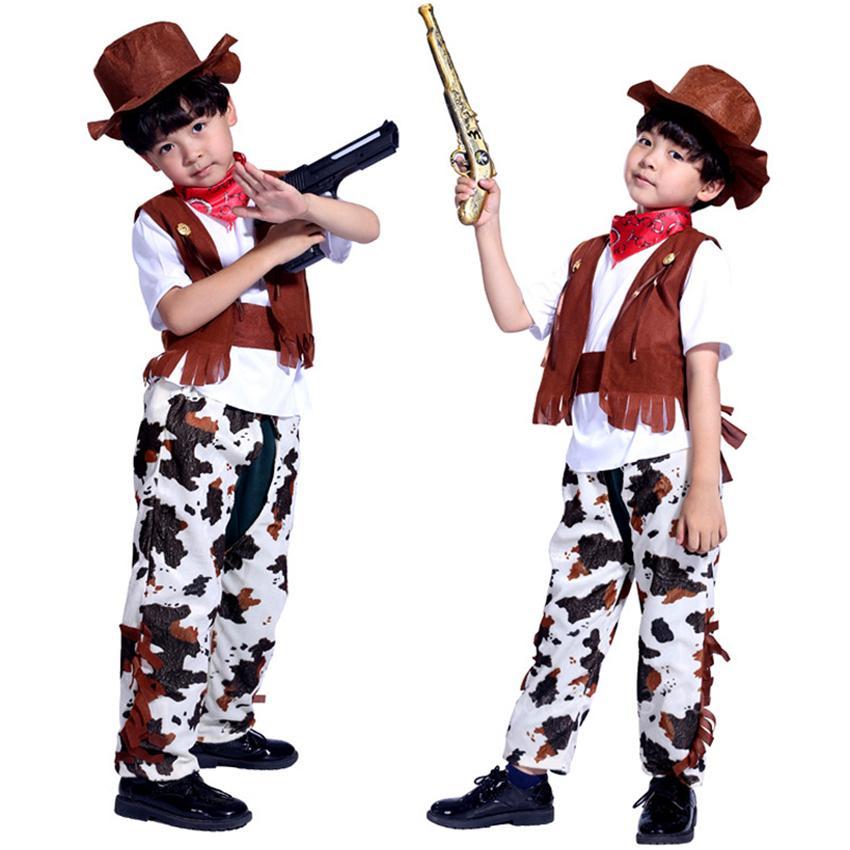 Costumi Bambini Cowboy Cosplay Halloween di travestimento del partito Boy donna Wild West Fancy Riverso Vest Cap Sciarpa Outfits Carnevale