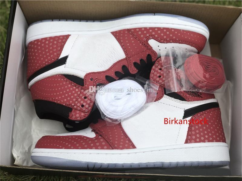 Lassen Sie Authentic 1 High OG Chicago Kristall Gym Rot Blau-Schwarz Weiß verursachende Männer Schuhe 555088-602 Designer-Schuhe Größe 5,5 ~ 13
