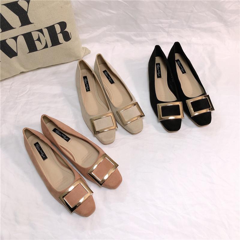 뜨거운 판매 -1209 버클 광장 낮은 매트와 여자면 국수 하품 피상적 인 강어귀 단일 구두 Ol 여성 신발