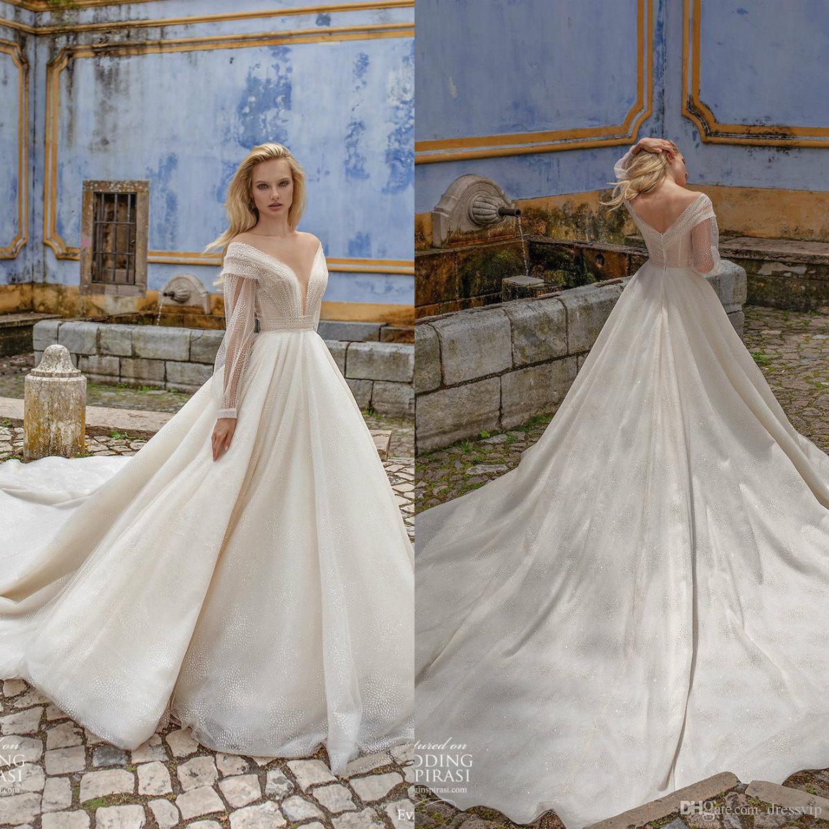 2020 Eva Lendel à manches longues robes de mariée Une ligne dentelle balayage train Bohemian appliques de mariage personnalisé robe élégante Vestidos De Novia