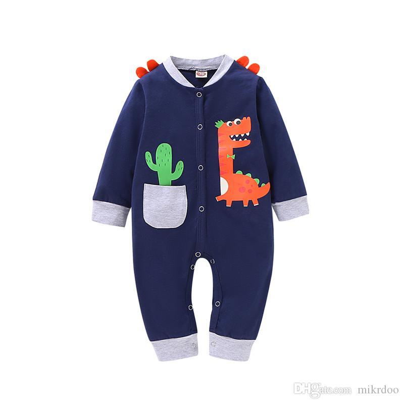 Mikrdoo Newborn bambino neonato maschio Carino Tuta a maniche lunghe con cappuccio Dinosaur Stampa pagliaccetto per 0-18 mesi