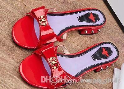 Envío gratuito 2019 Zapatillas de marca de moda para mujer Decoración de arco Zapatillas Liu Ding Liu Ding con Tricolor 35-42