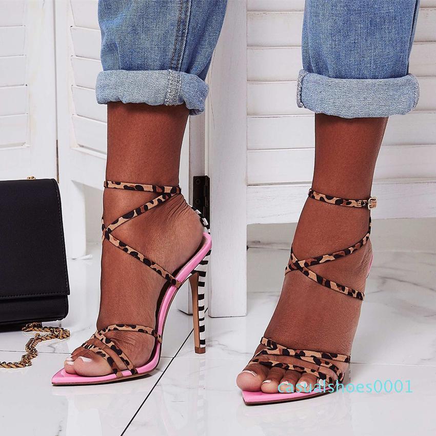 Heißer Verkauf-2020 Sexy rosa gelb gestreiften leopard gedruckt Kreuz Riemchen High heels Sandalen designer Luxus Frauen rutschen