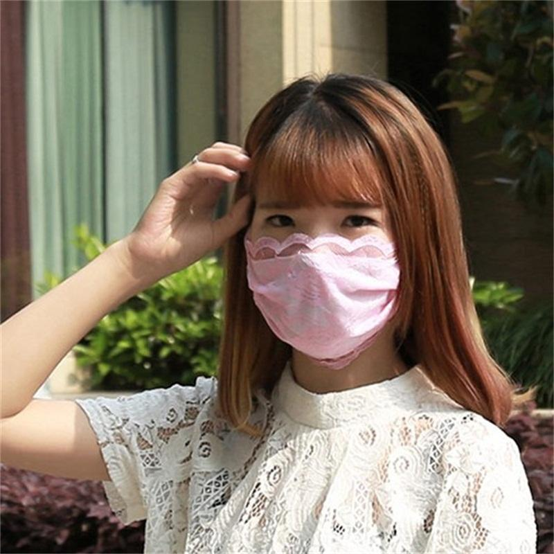 5 Color Women Riding Protective Mouth Masks Double Layer Dust Filtrition Mascherine Face Mask Lace Respirator Free Shipping 2jz E1